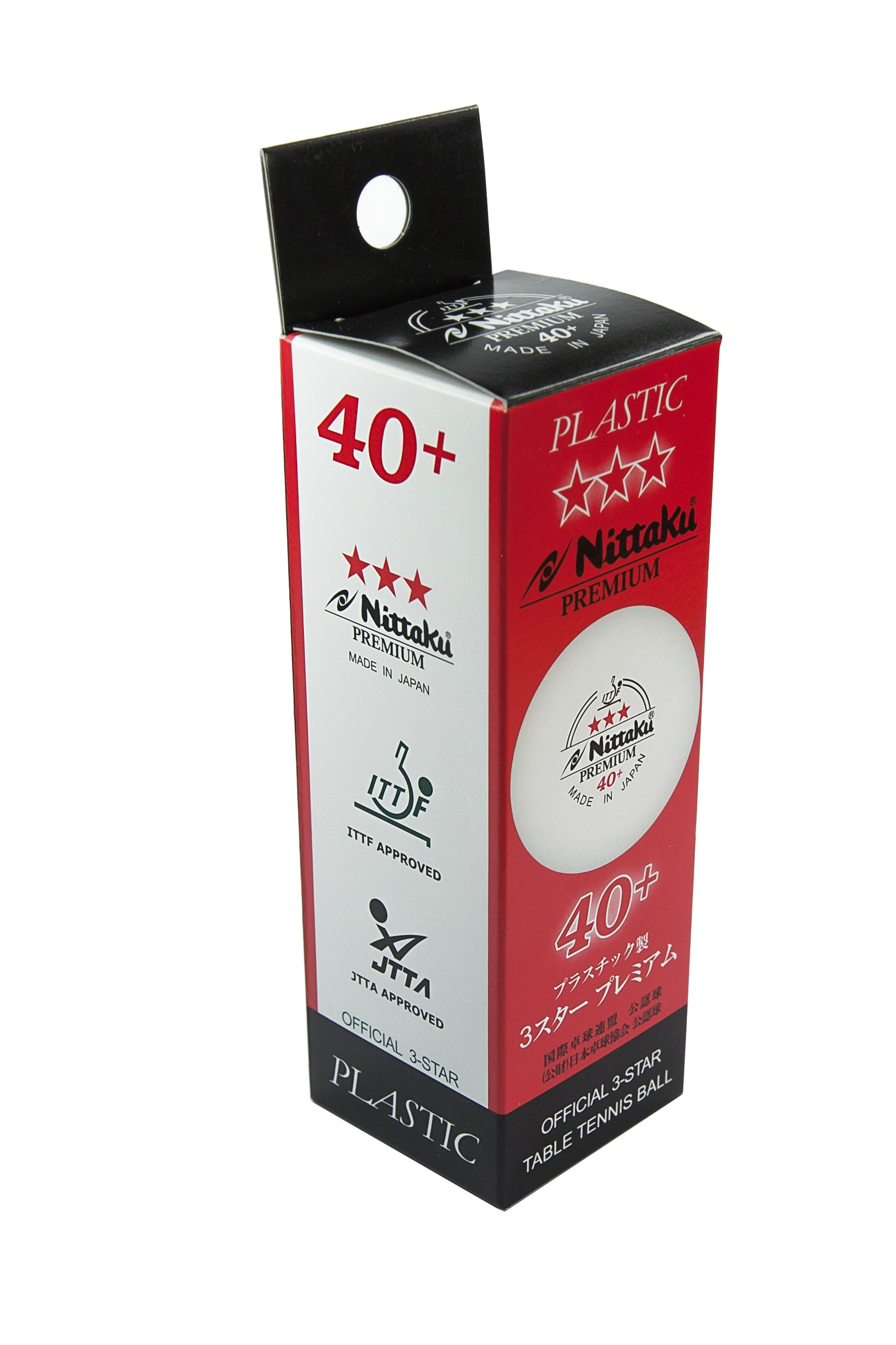 Nittaku Premium 3 Star Table Tennis Balls Pack of 3 White