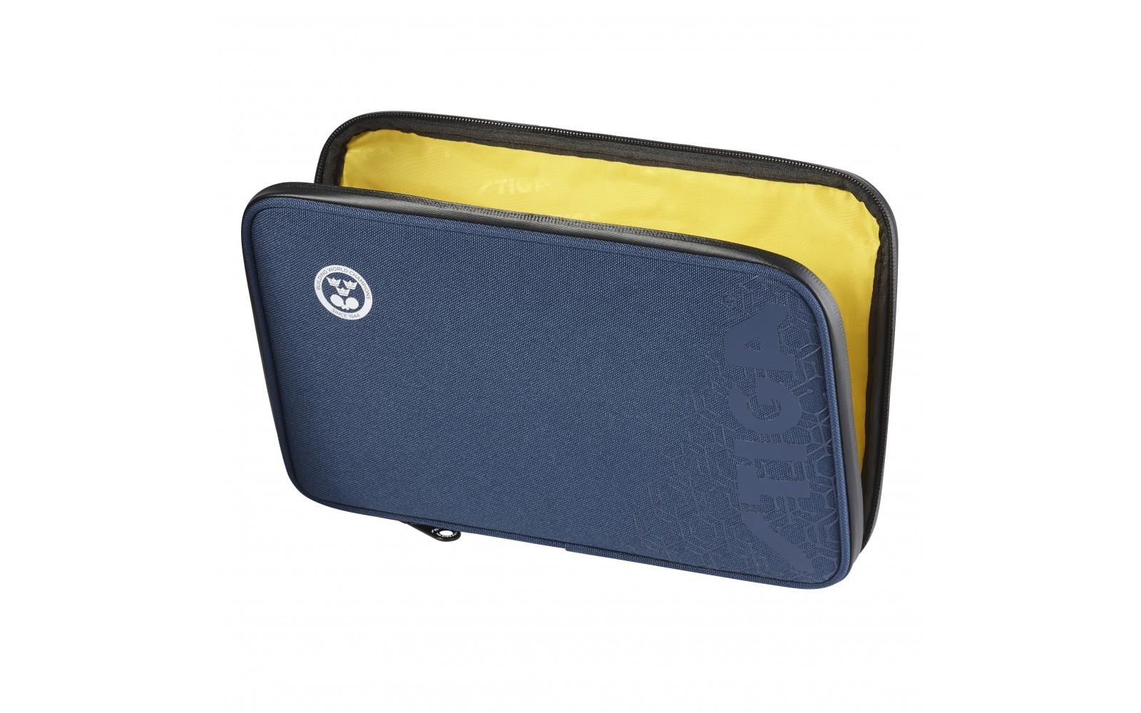 Stiga Table Tennis Hexagon Single Bat Wallet Navy//Yellow
