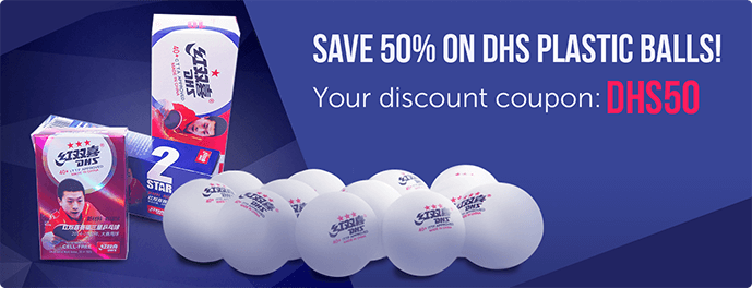 Save 50% on DHS Plastic Balls! Your Discount Coupon: DHS50.