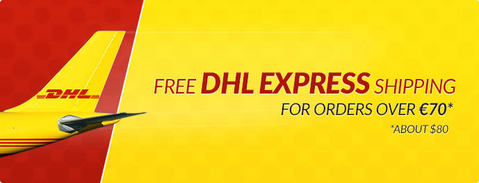 Free DHL shipping in USA on orders over 70 EUR